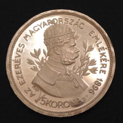 ~1896  Hungary  Franz Josef Five 5 Korona Cameo Proof Restrike