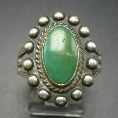 1940s Jewelry Styles and History OLD 1940s Vintage HARVEY ERA NAVAJO Sterling Silver and TURQUOISE RING size 9.5 $157.68 AT vintagedancer.com