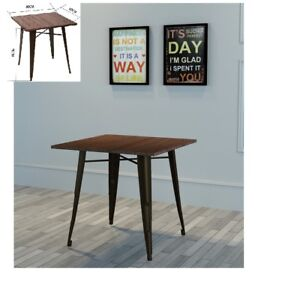Dining Table Side Table Metal Industrial Vintage Style Top MDF New Square Brown