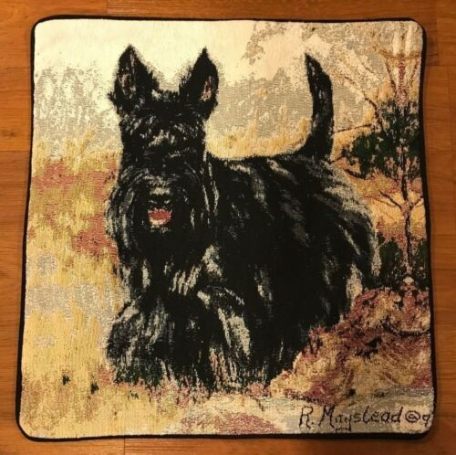 Jacquard woven Cushion Pillow Cover w Black Scottie dog (Scottish Terrier) - New