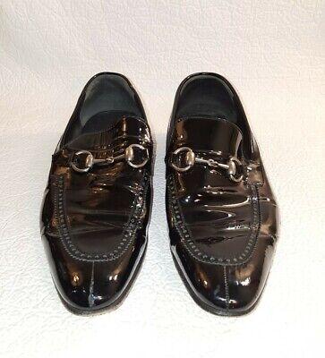 Vintage GUCCI Men's Sz 8 Horsebit Patent Leather Shoes