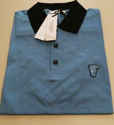 Versace Collection Medusa Blue Men's Short Sleeves Polo Shirt Sz M