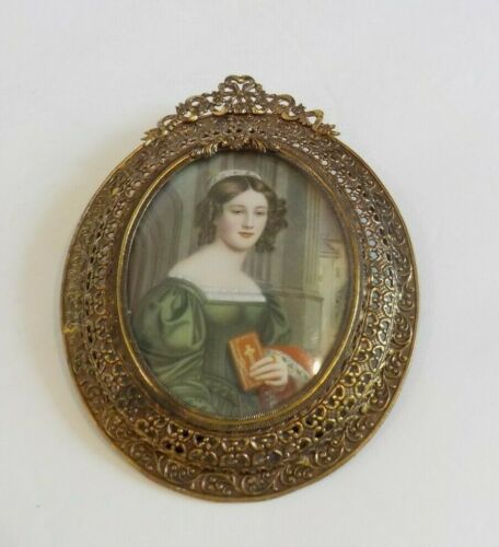 19th C. Miniature Watercolor Portrait Painting, Reticulated Frame
