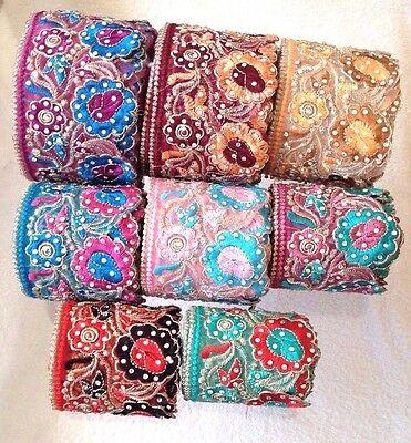 Rhinestone Embroided Fancy Lace Trim Bridal Sewing Craft Border Indian Ribbon Fancy Lace Trim