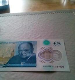 Rare aa £5 banknote