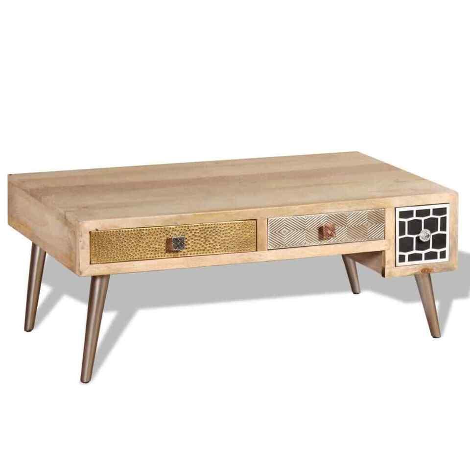Tavolino da Caffè con cassetti in Legno Massello Mango 105x55x41 cm 5