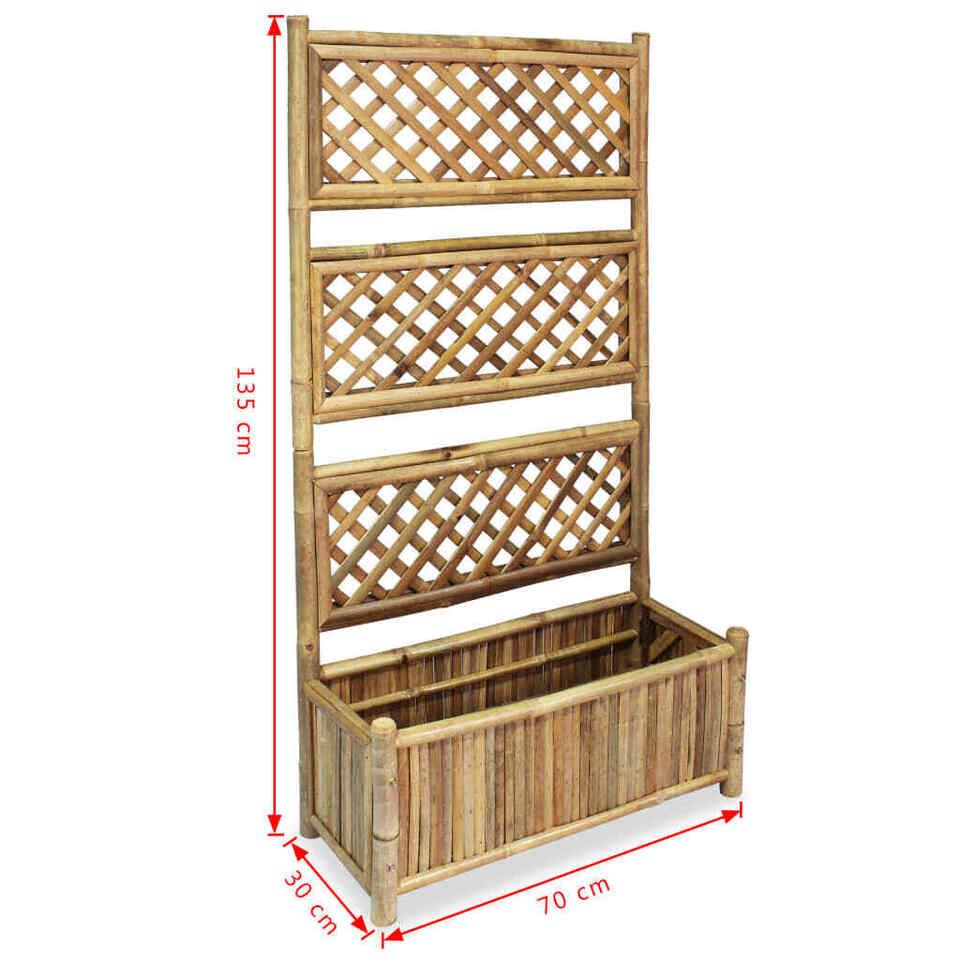Letto Rialzato da Giardino con Graticcio in Bambù 70 cm 6