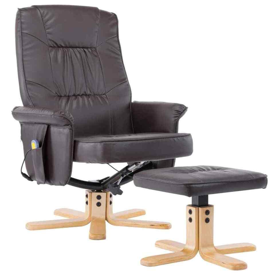 Poltrona Massaggi Reclinabile e Poggiapiedi Marrone Similpelle 2