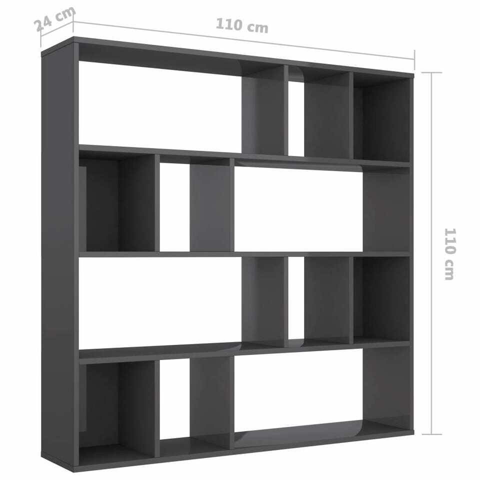 Libreria/Divisorio Grigio Lucido 110x24x110 cm in Truciolato 7