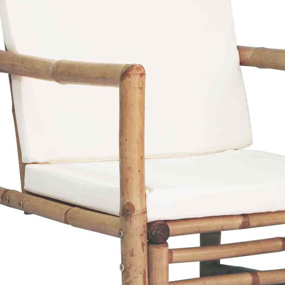 Set Divani da Giardino 4 pz con Cuscini in Bambù 8