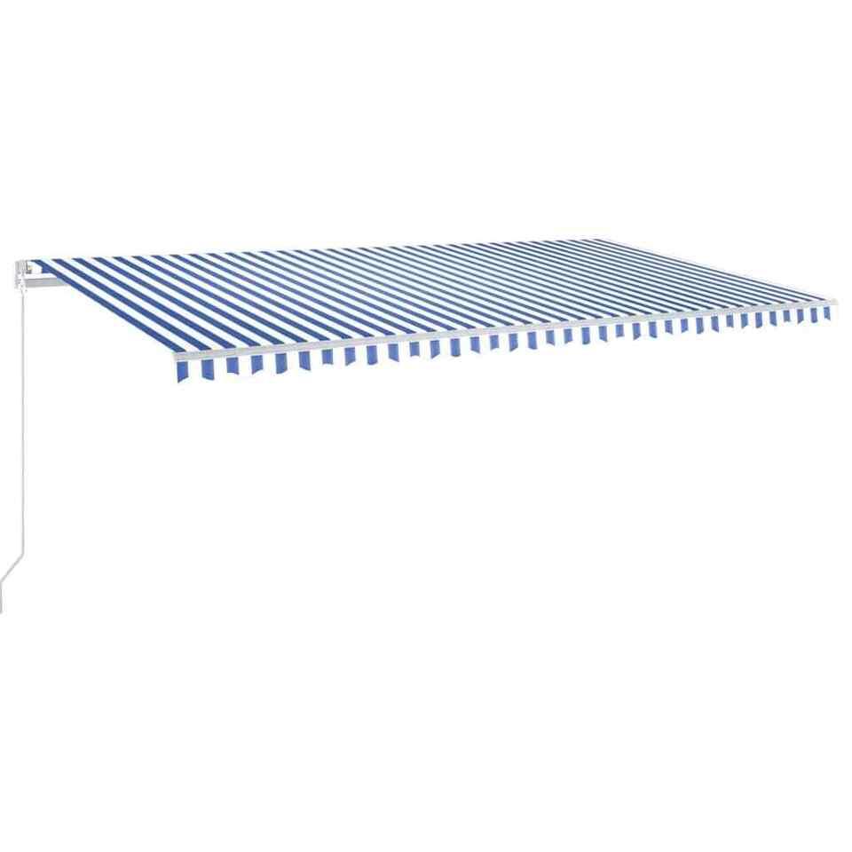 Tenda da Sole Retrattile Manuale 600x350 cm Blu e Bianco 2