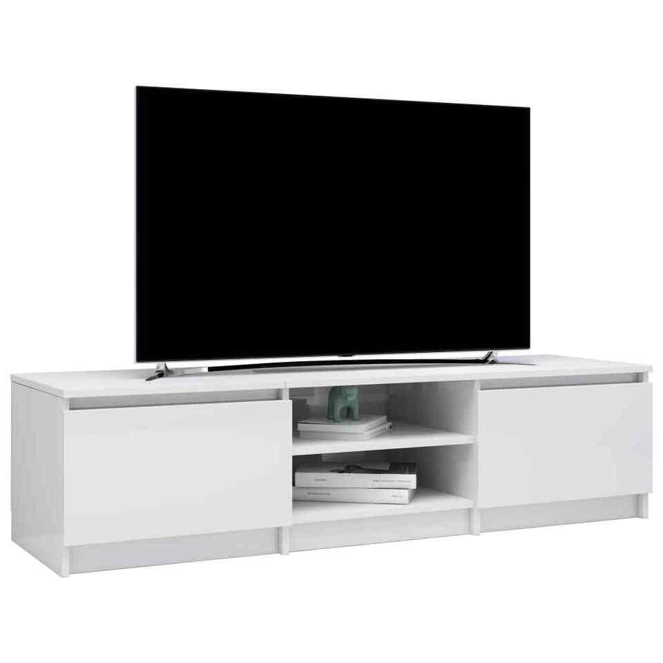 Mobile TV Bianco Lucido 140x40x35,5 cm in Truciolato 3