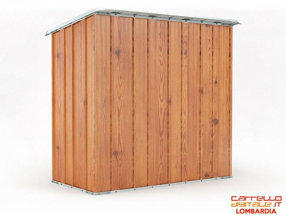Box casetta giardino in Acciaio 174x100cm finitura legno 3