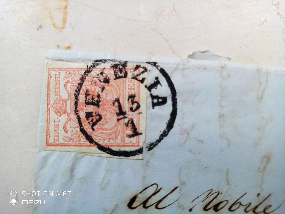 Lettera con Franc. 15 Cent. Vermiglio - Lombardo-Veneto 1854