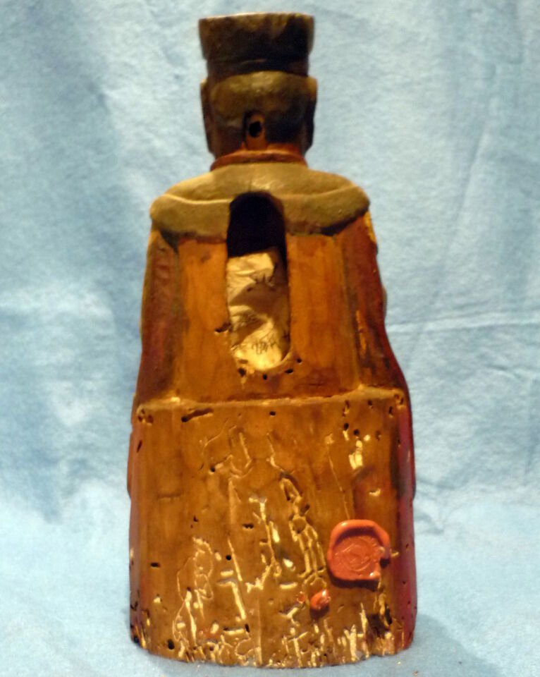 Cina 1850, Chinese Carved Wood Reliquary of Dignitary 4