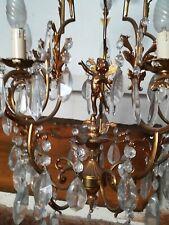 Lampadario in cristallo e ottone