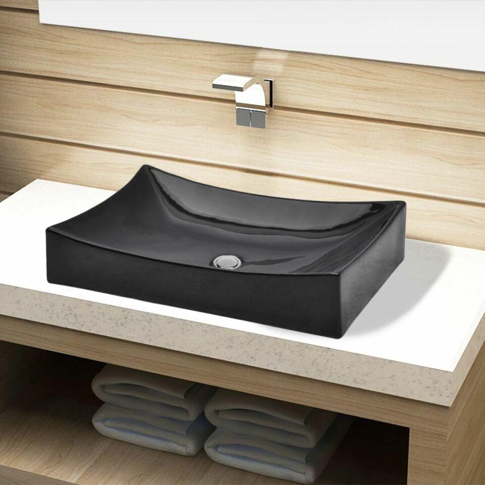Lavandino da bagno in ceramica nera rettangolare