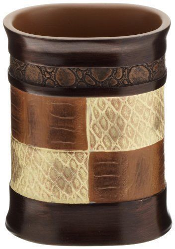 The Zambia Tumbler From Popular Bath Has A Bold Pattern In Rich Brown And  Cream Colors That Bring To Mind Fine Woods And Exotic Leather.