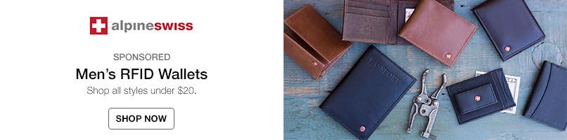 Mens RFID wallets. All styles under $20