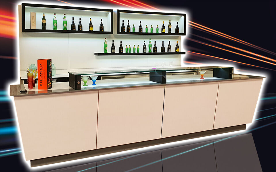 Banco bar completo refrigerato usati/fiera campionaria su misura 3