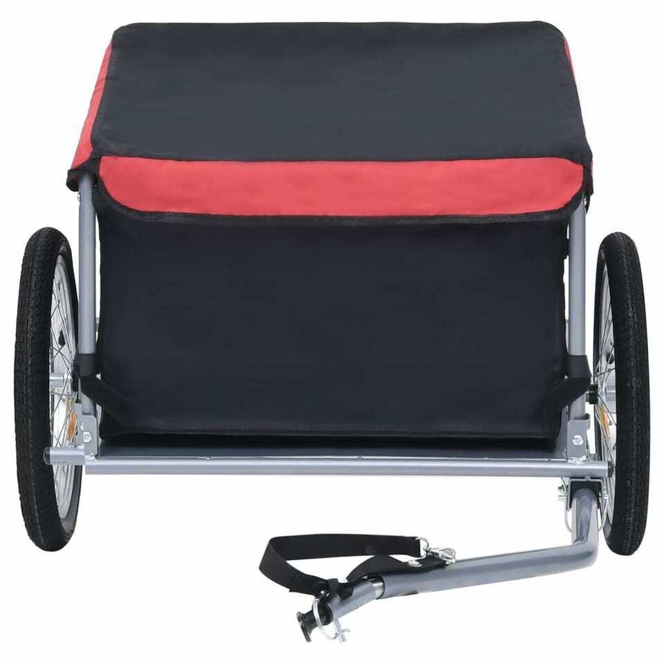 Rimorchio da Bici per il Trasporto di Merci Nero e Rosso 65 kg 5