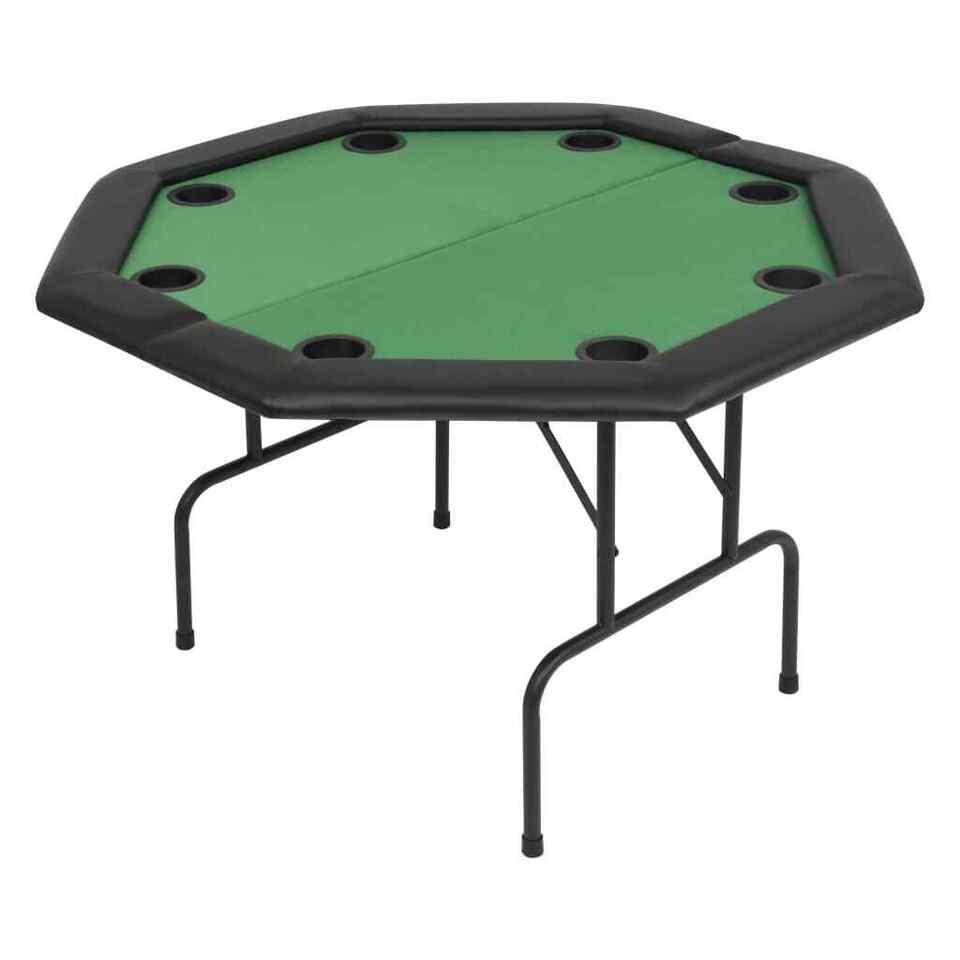 Tavolo da Poker Piegabile in 2 per 8 Giocatori Ottagonale Verde 2