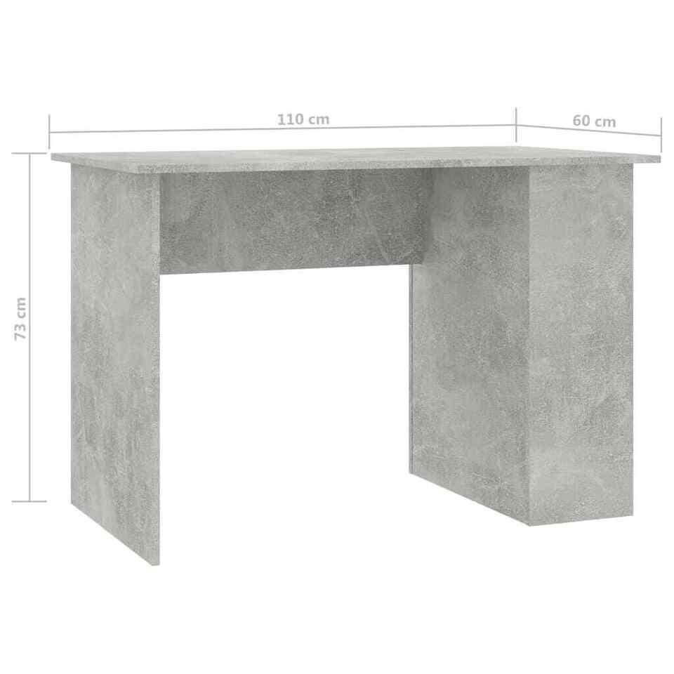 Scrivania Grigio Cemento 110x60x73 cm in Truciolato 6
