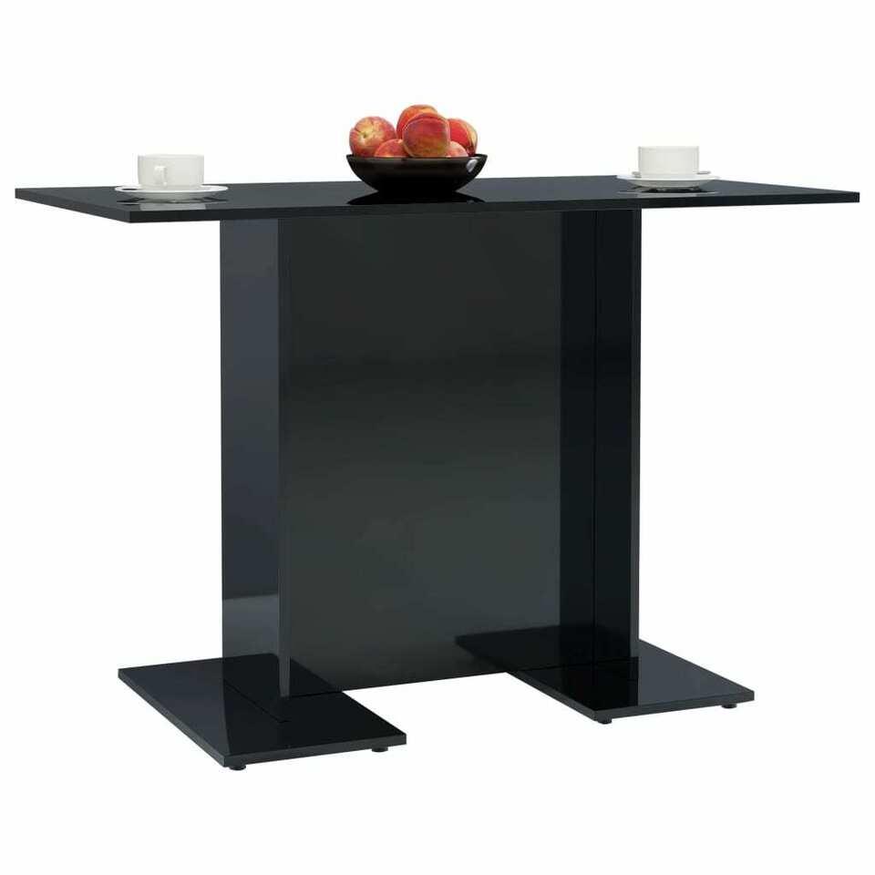 Tavolo da Pranzo Nero Lucido 110x60x75 cm in Truciolato 3