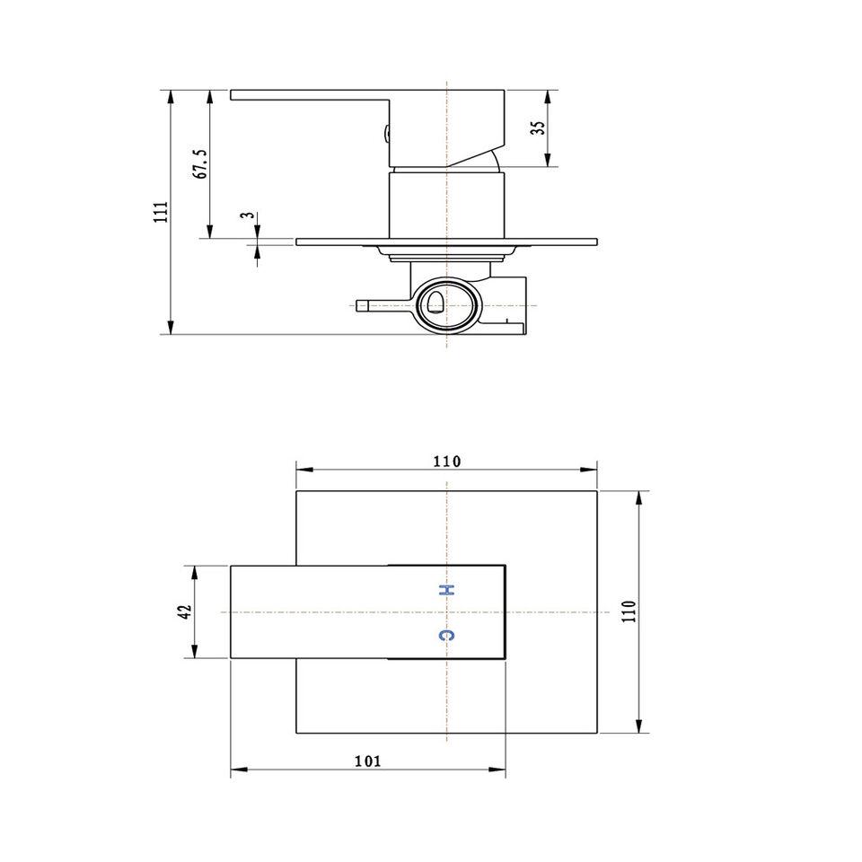 Confezione 1 * ogomondo miscelatore incasso doccia 006 in ottone crom 2