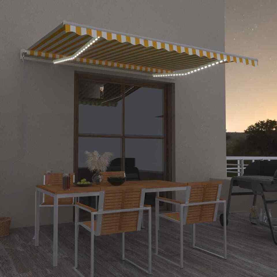 Tenda da Sole Retrattile Manuale e LED 400x300cm Gialla Bianca