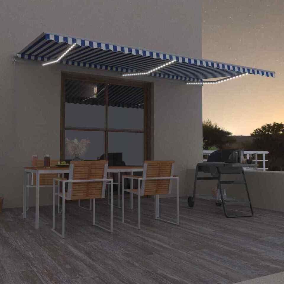 Tenda da Sole Retrattile Manuale con LED 600x350 cm Blu Bianco