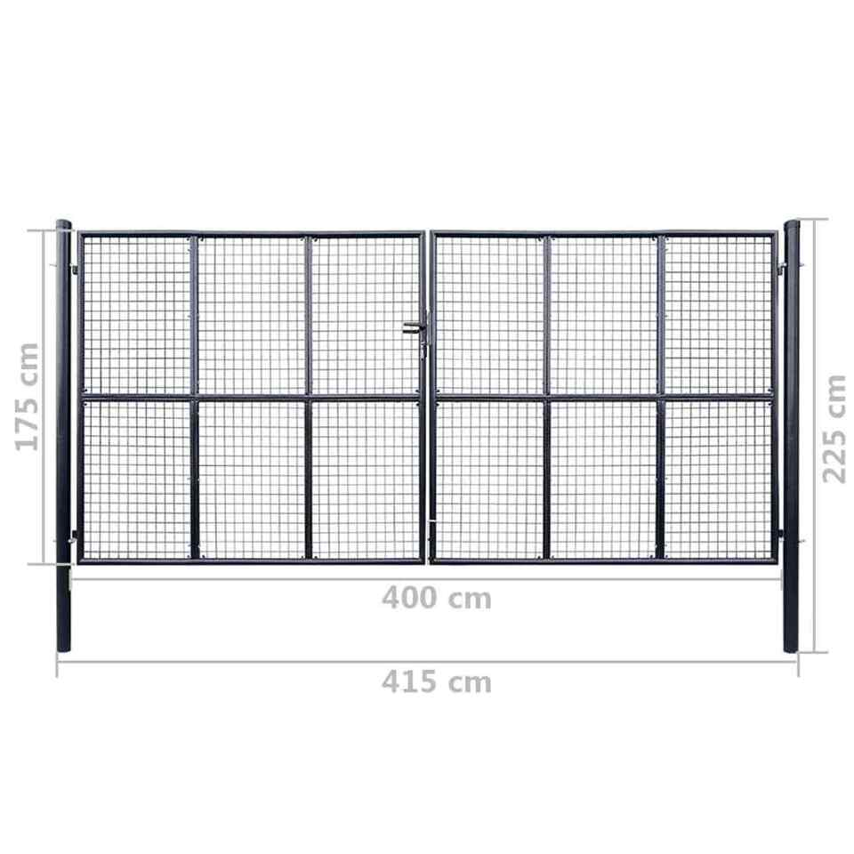 Cancello per Giardino in Acciaio Zincato Grigio 400x175 cm 6