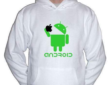 T-shirt android mangia mela-apple- samsung lg motorola htc tablet sony 4