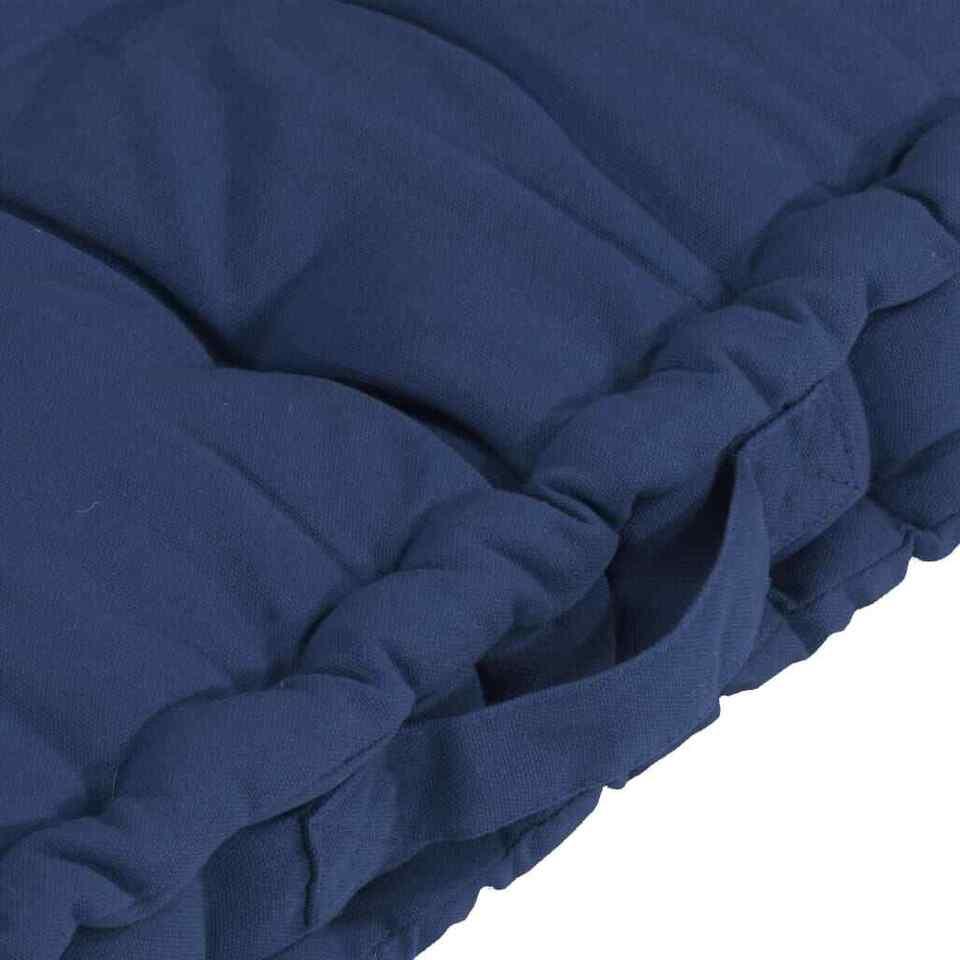 Cuscini per Pallet e Pavimento 7 pz Blu Navy Chiaro in Cotone 7