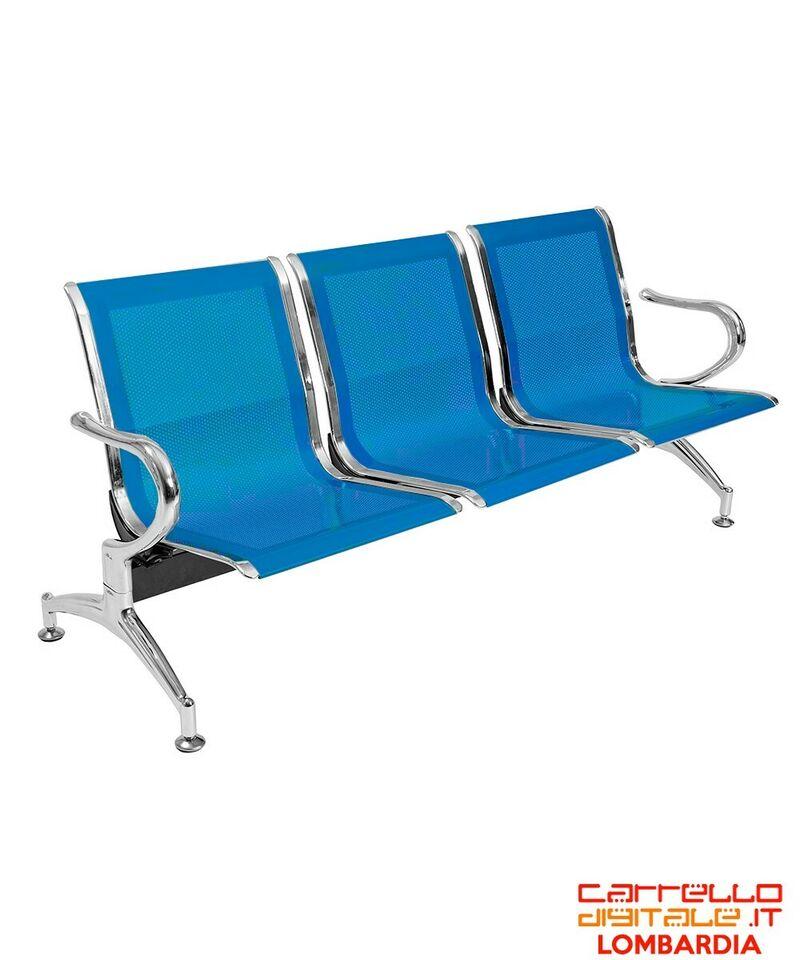 Panca da attesa in acciaio colore blu 3 posti