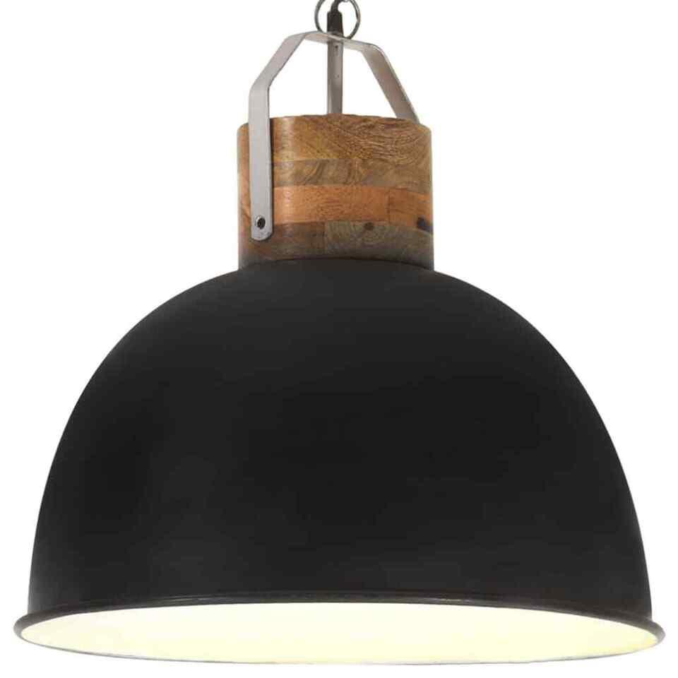 Lampada Soffitto Industriale Nera Rotonda 51 cm E27 Legno Mango