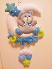 Fiocco nascita luna e orsetto azzurro personalizzabile