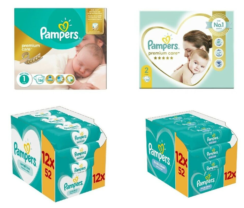 Pampers Premium Care (1,2,3,4,5), Pampers Sensitive&Fresh Clean