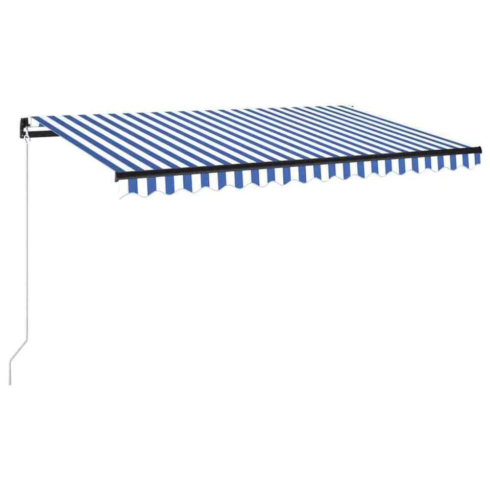 Tenda da Sole Retrattile Manuale con LED 450x300cm Blu e Bianca 2
