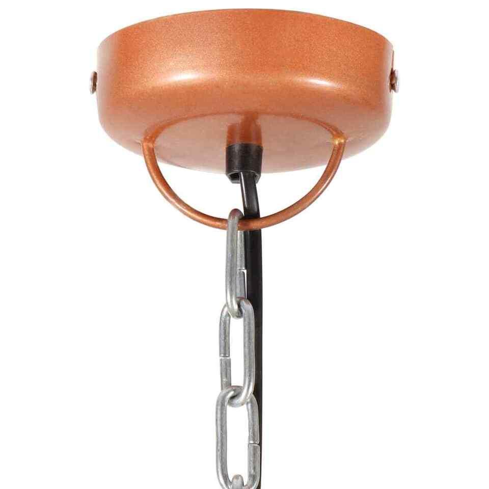 Lampada Soffitto Industriale Rame Rotonda 51 cm E27 Legno Mango 7