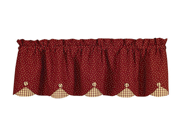 another popular valance from park designs is the apple jack valance this valance features a deep red cotton scattered with whimsical accents in beige