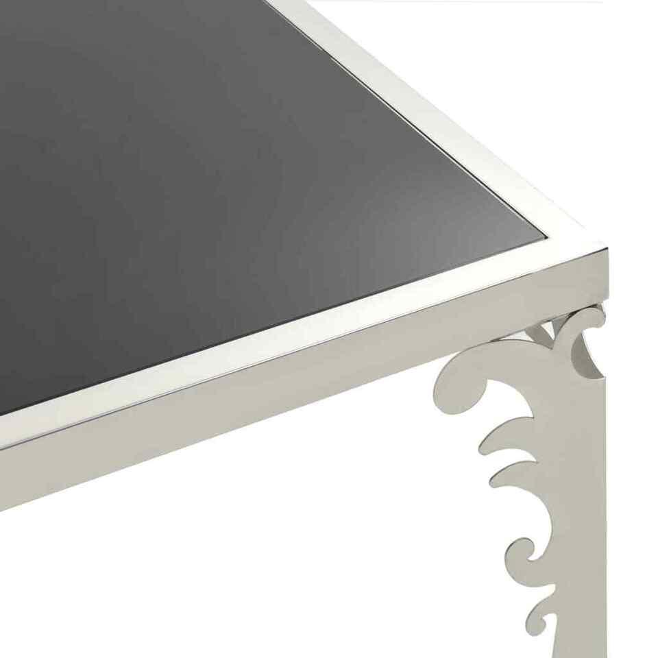 Tavolino da Caffè Specchiato in Acciaio Inox e Vetro 80x60x44cm 5