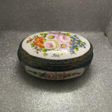 Scatola cer limoges ovale fiori