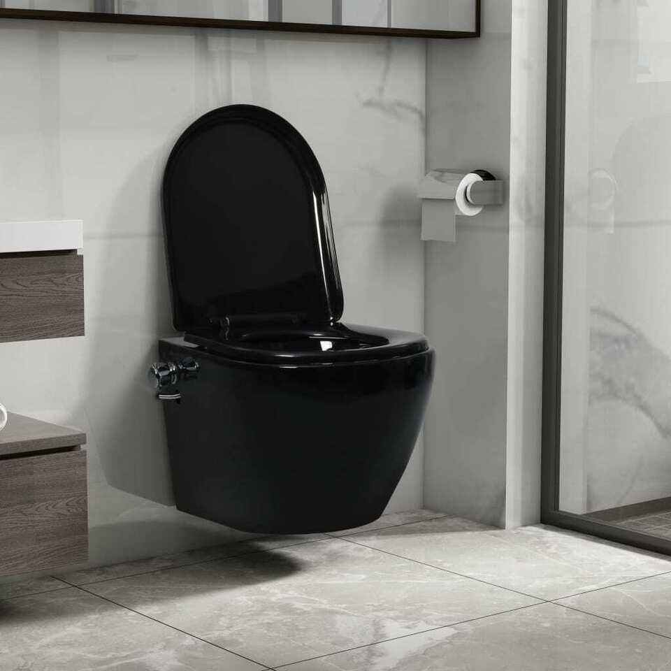 Toilette senza Bordo Sospesa con Funzione Bidet Ceramica Nera