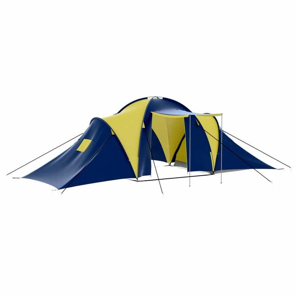 Tenda da Campeggio in Poliestere per 9 Persone Blu e Giallo