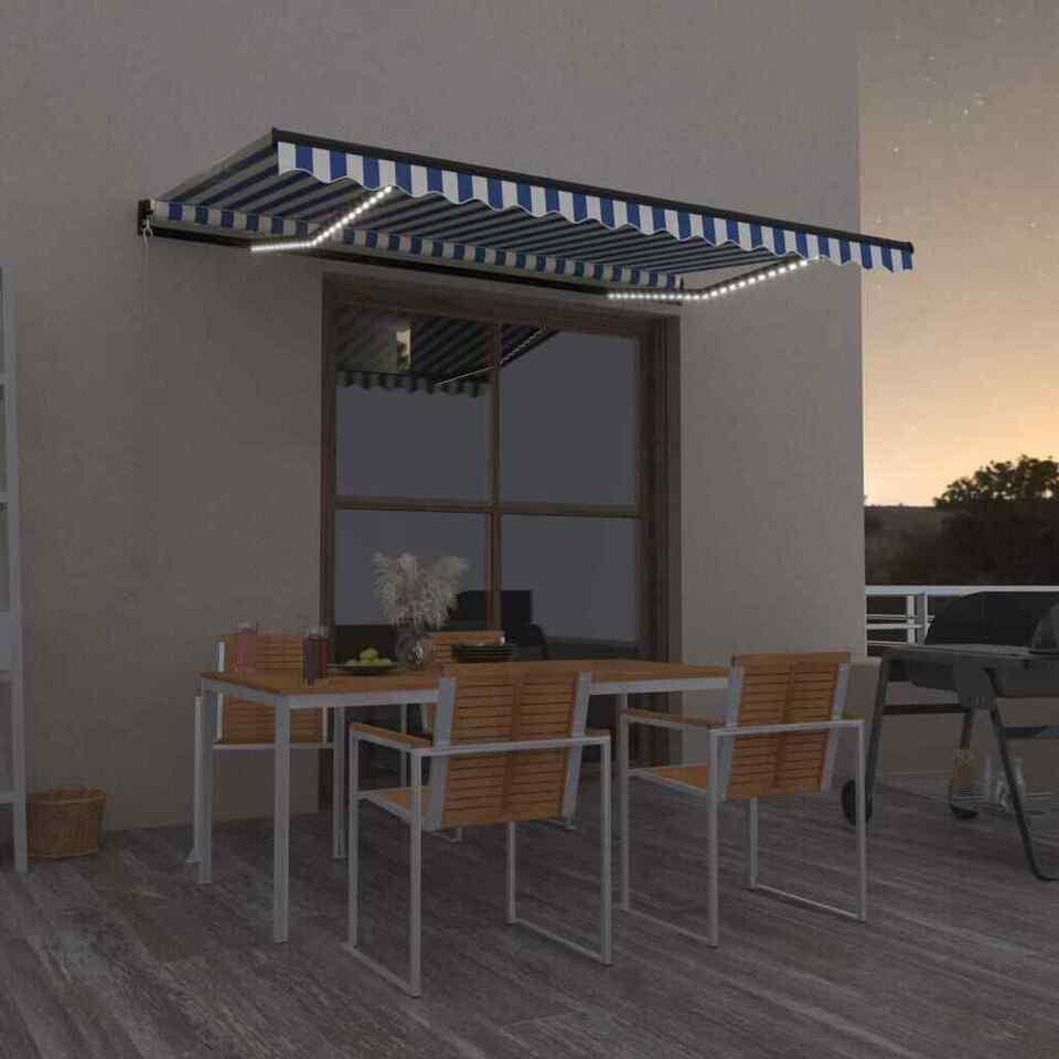 Tenda da Sole Retrattile Manuale con LED 450x300cm Blu e Bianca