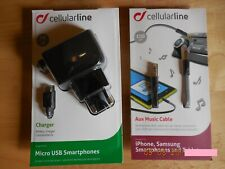 Cellular Line charger Micro USB Smartphones + Aux Music Cable