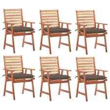 Sedie da Pranzo da Esterni con Cuscini 6 pz Massello di Acacia