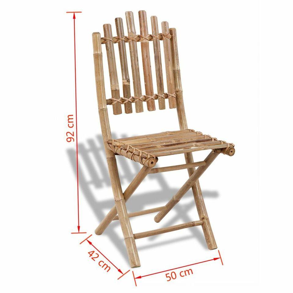 Sedie da Esterno Pieghevoli 4 pz in Bambù 6