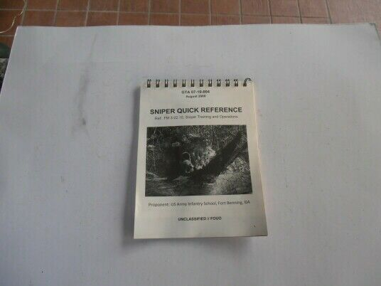 Rare us army infantry school - sniper quick reference book